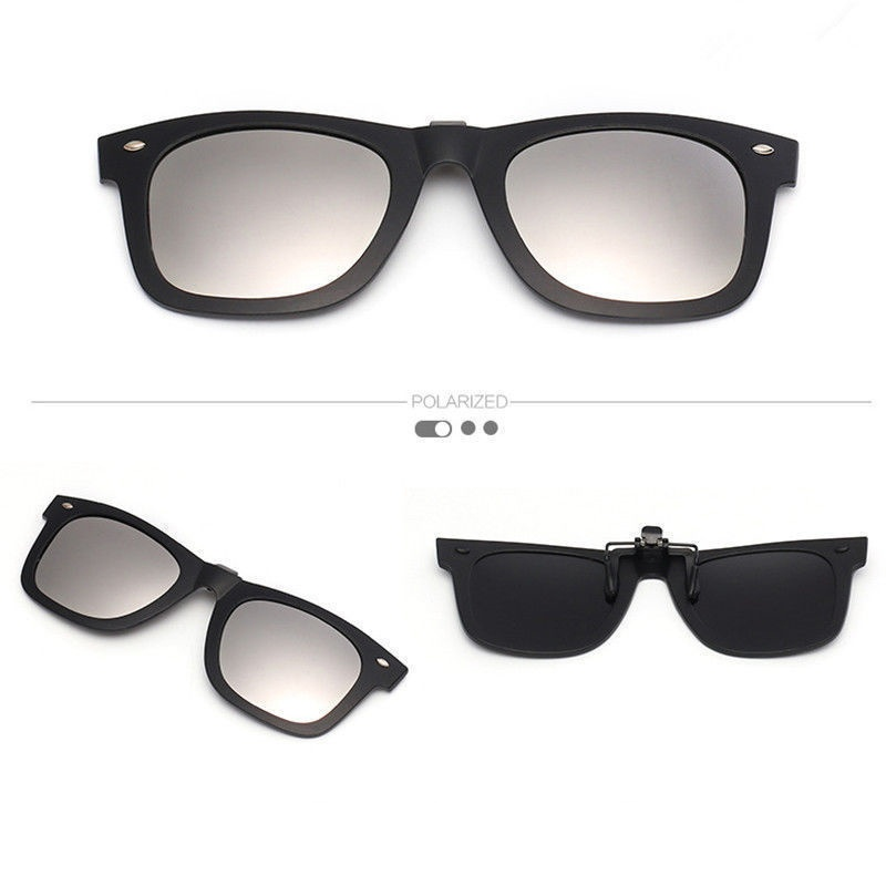 Unisex Outdoor UV400 Polarized Clip-on Glasses Magnet Flip-up Lens Sunglasses
