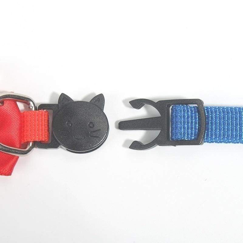 Fashion new pet bow collar nylon webbing multicolor adjustable with bells pet jewelry cat collar safety buckle 9 colors