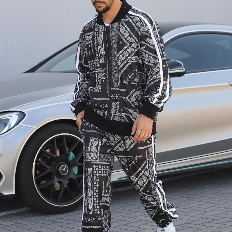 Men's casual fashion printed sports suit