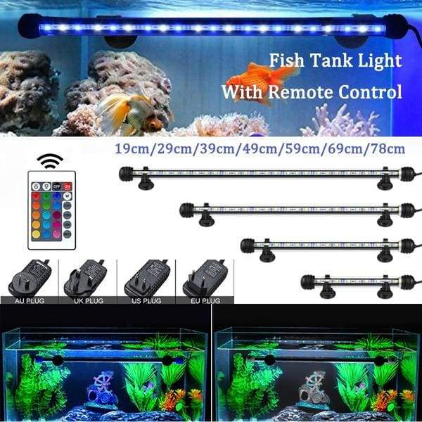19-78CM Fish Tank Light With Remote Control Waterproof LED Aquarium Light RGB Color Underwater Light US/EU/UK/AU Plug