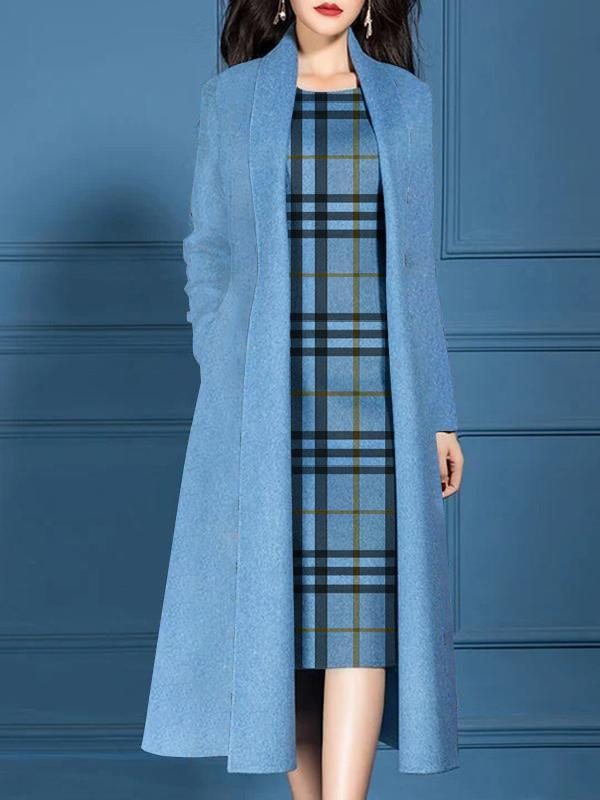 Solid Coat And Checked Sleeveless Dress Set