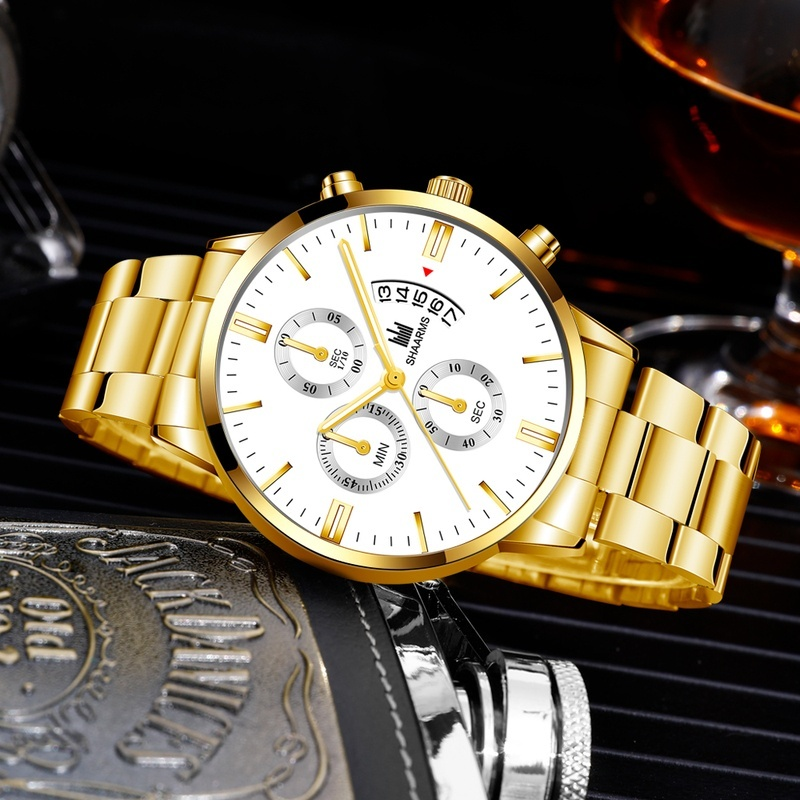 SHAARMS Casual Elegant Sports Quartz Watches For Men Military Classic Stainless Steel Analog Wrist Watches