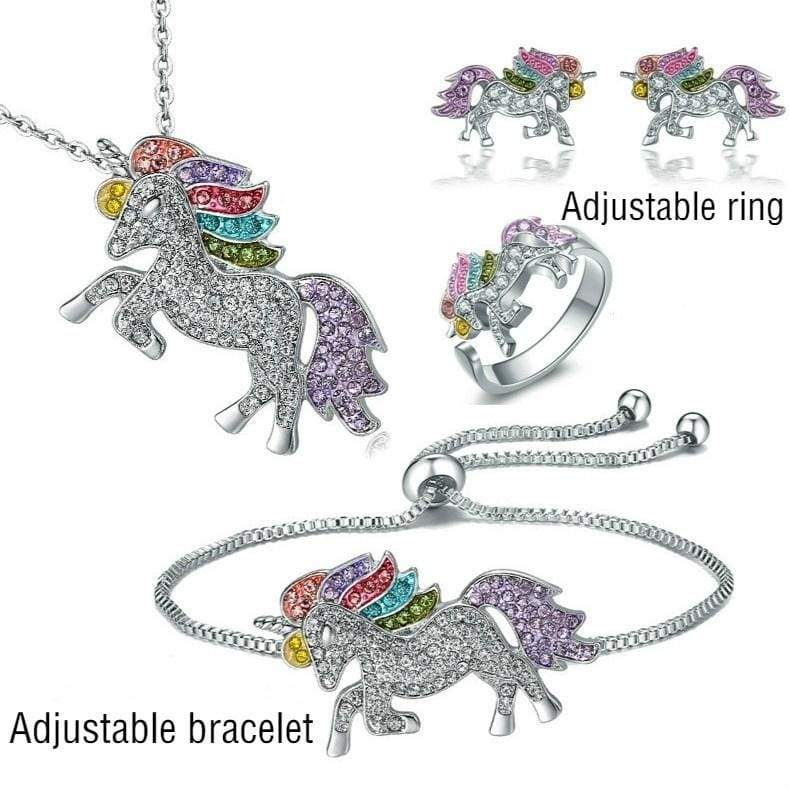 Girl Lucky Unicorn Necklace / Bracelet / Adjustable Ring / Stud Earrings Fashion Jewelry 925 Sterling Silver Luxury Color Diamond Horse Jewelry Women's Classic Unicorn Holiday Gift
