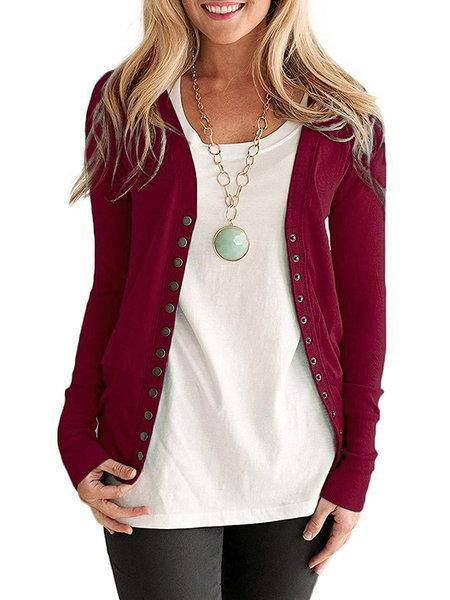 Casual Knitted Long Sleeve Solid Coat