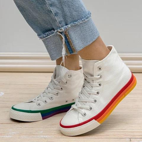 Lace Up Colorful Flat Heel Canvas Sneakers