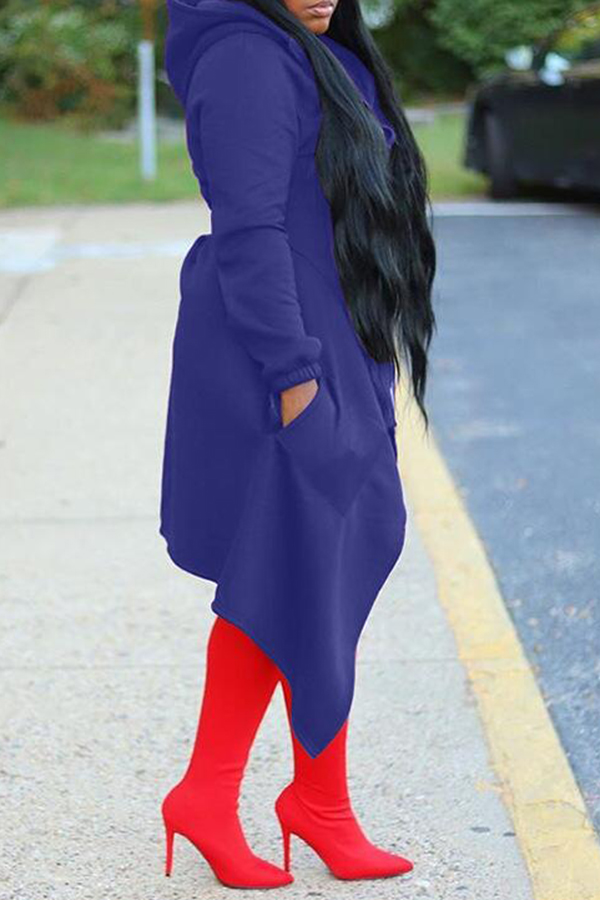 Irregular Solid Color Hooded Top
