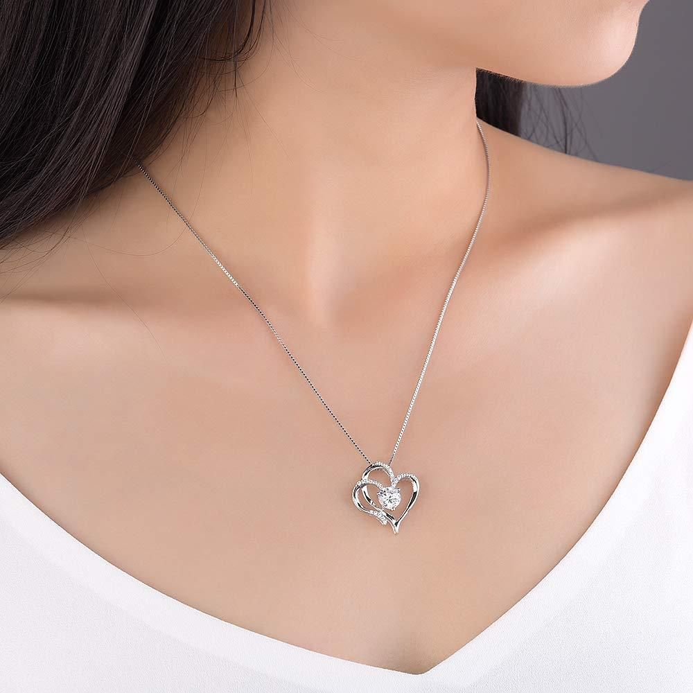 Heart Necklace 14K Gold Plated 5A Cubic Zirconia Pendant