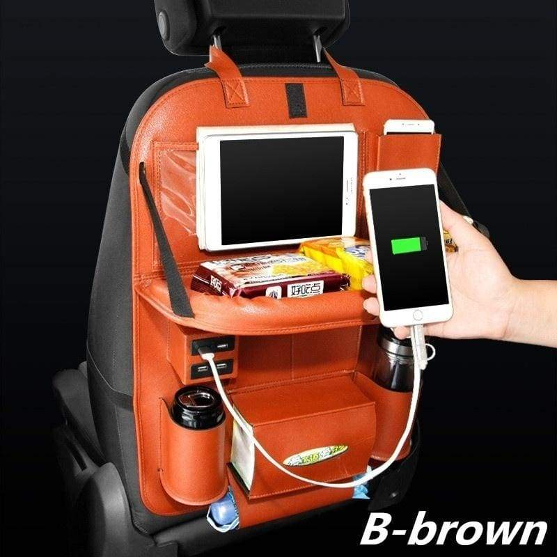 Two Kinds of Style USB Charger Car Seat Back Bag Organizer Storage Pu Leather Travel Multifunction Pocket Stowing Tidying Auto Accessories