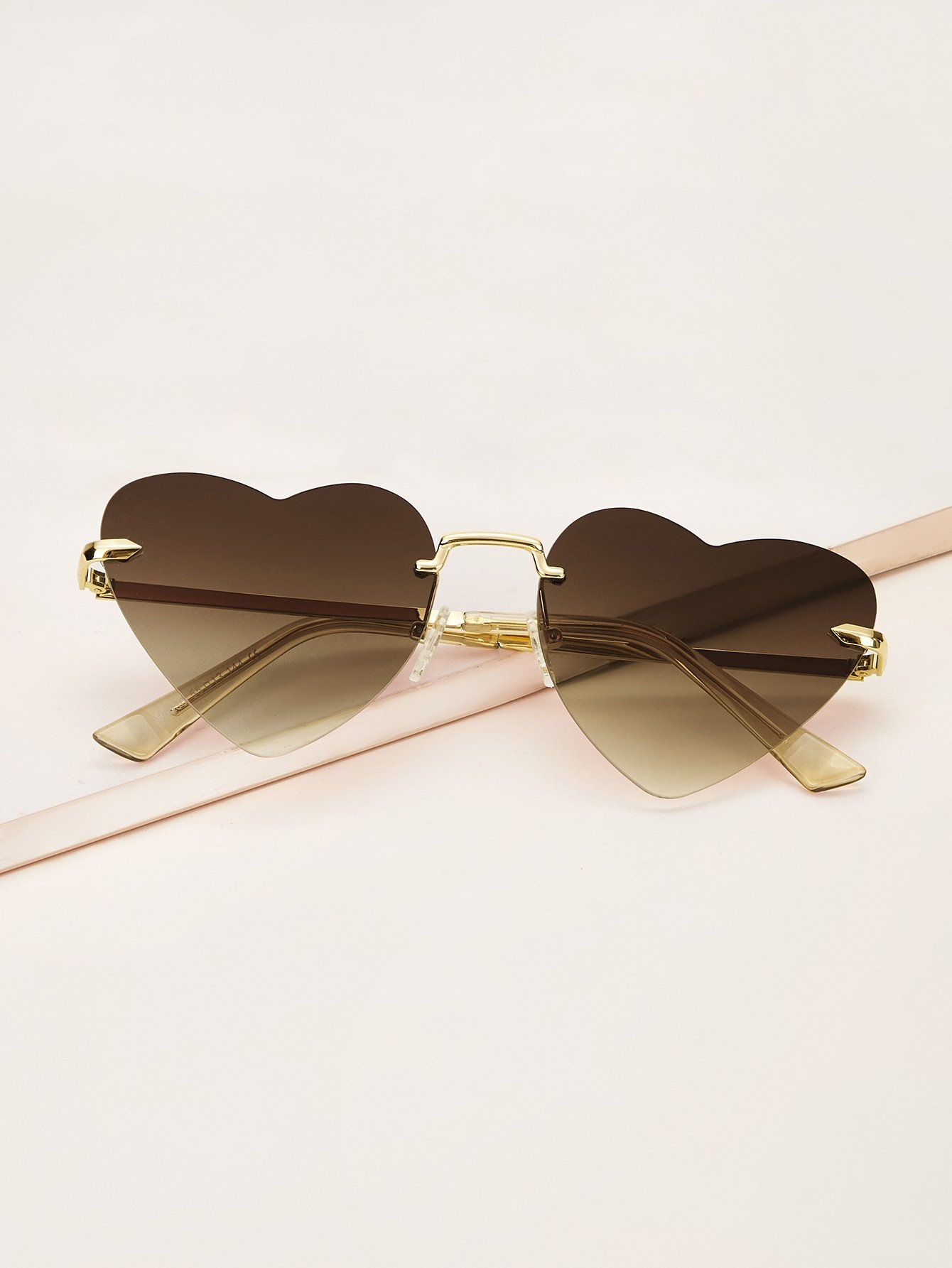 Rimless Heart Frame Flat Lens Sunglasses