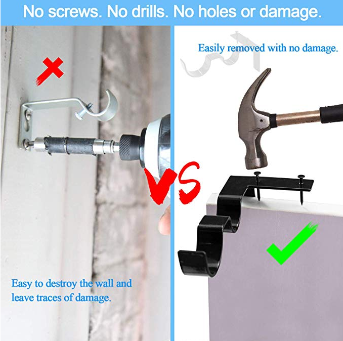 (Last day promotion 50% off!) No Drill Curtain Rod Brackets Holders - 1 Set