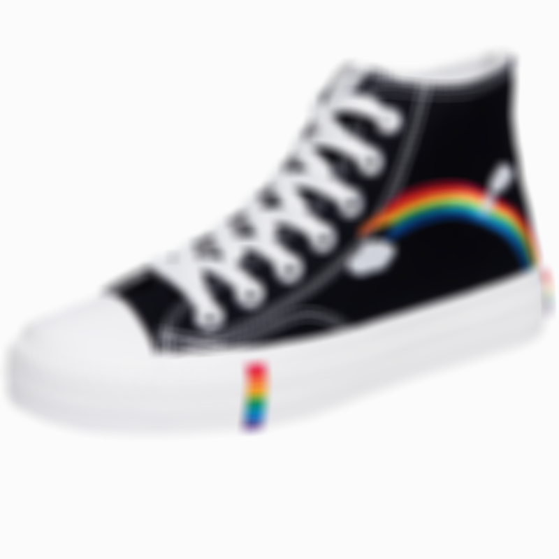 Women's Fashion Vulcanized Shoes Women Sneakers New Rainbow Retro Canvas Shoes Flat Fashion Comfortable High Shoes Women