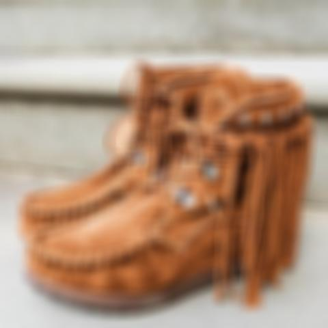 Women Lace-Up Round Toe Tassels Flatforms Ankle Boots