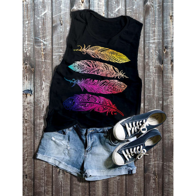 2019 3 Color The New Summer Women Fashion Feather Pattern Print Sleeveless O-Neck Cotton Tank Tops Casual Loose Slim Fit Street Style Female Vest T-Shirt