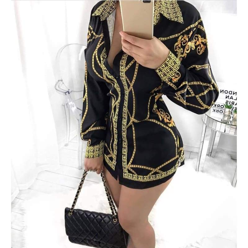 Women Fashion Stand Collar Gold Chain Printed T Shirt Dress Club Mini Dress