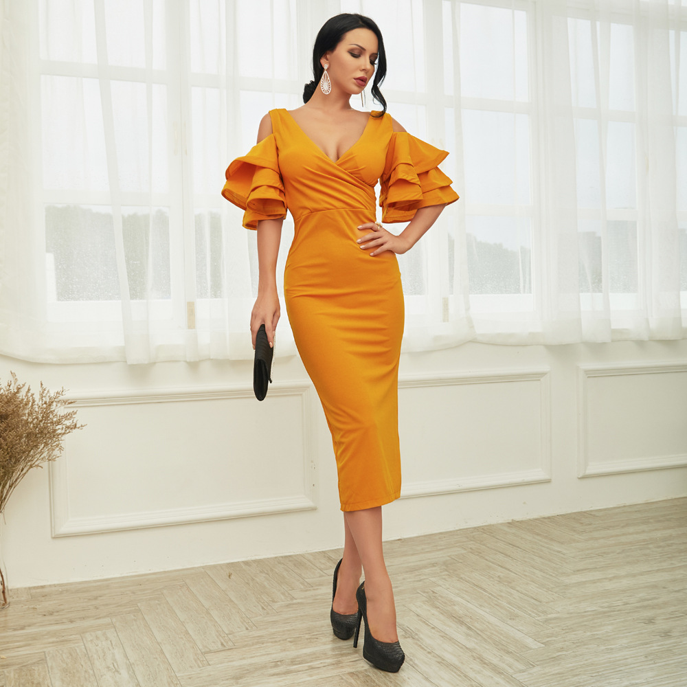 Pile sleeves strapless v-neck evening party dress