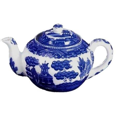 HIC Blue Willow Teapot, Fine White Porcelain, 3-Cup, 16-Ounce