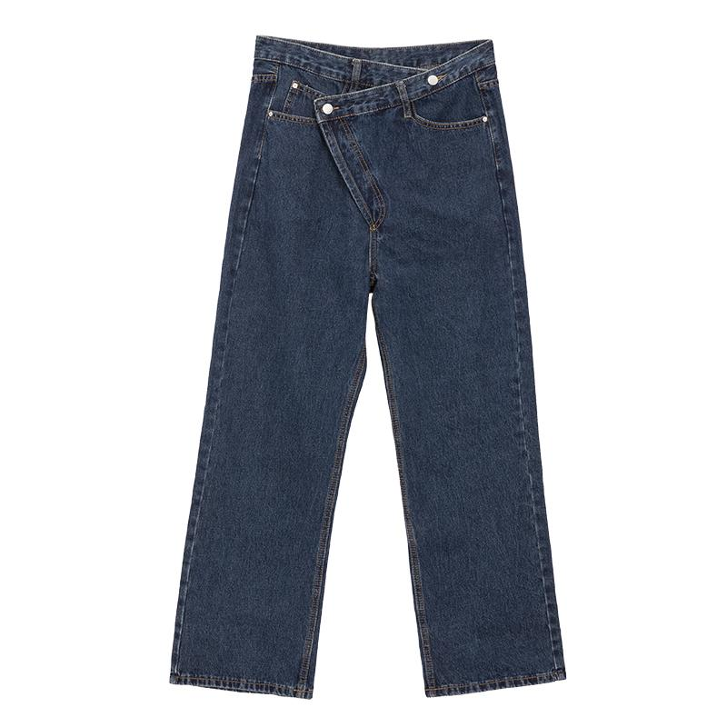 special closure design stylish straight cut women casual daily wear long jeans 100%cotton-jeans 2.11