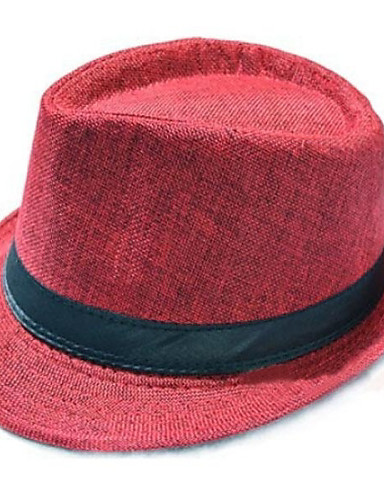 Men's Vintage Straw Straw Hat Sun Hat-Solid Colored Summer Wine