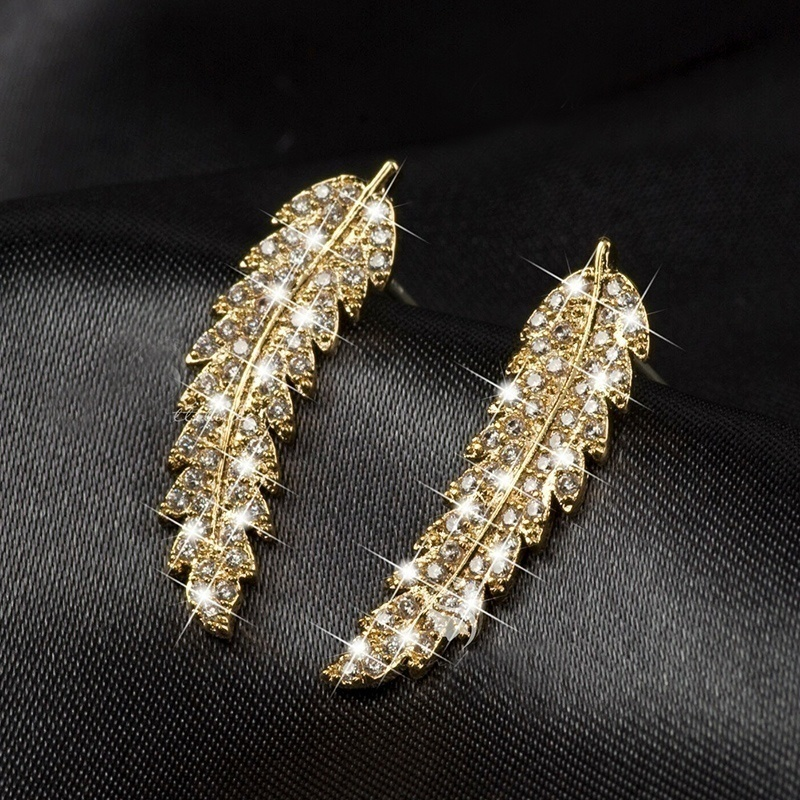 Exquisite Feather Ear Climbers Cuff Earrings 925 Sterling Silver & 18k Gold Crystal Diamond Leaves Cluster Wedding Earrings for Women