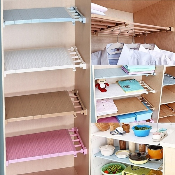 New Upgrade Magical Adjustable Closet Organizer Storage Shelf Wall Mounted Kitchen Rack Space Saving Wardrobe Decorative Shelves Cabinet Holders Withstand weight range 20KG-50KG)