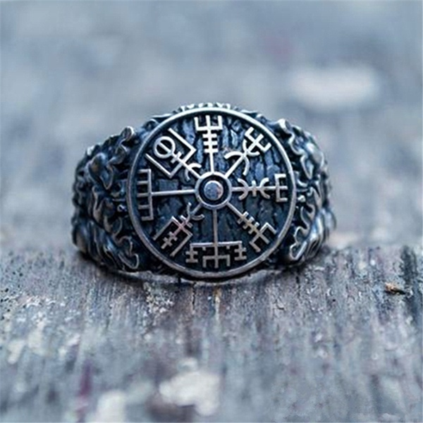Vintage Viking 316L Stainless Steel Compass Odin Rune Leaves Ring for Men Punk Amulet Jewelry Ring