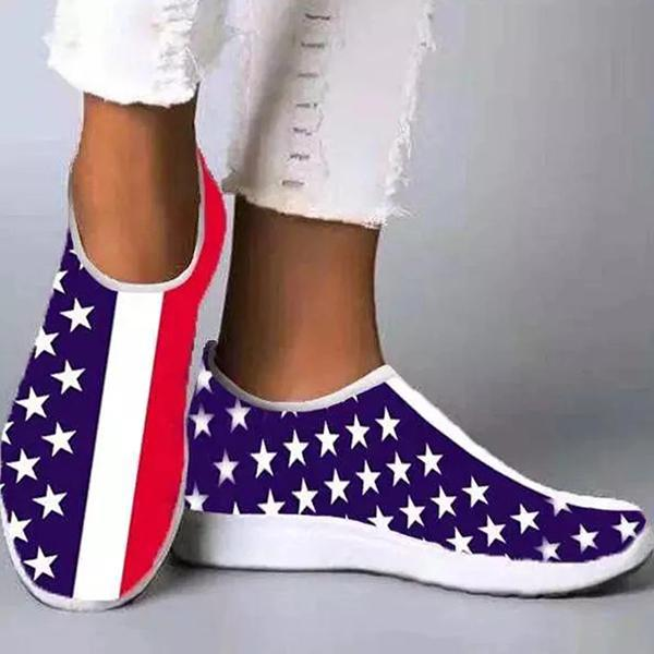 Zoeyootd Women Casual Athletic Mesh Cloth Print Light Weight Slip On Sneakers