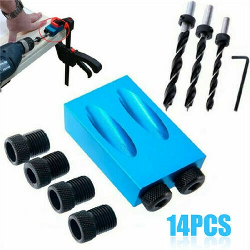 14Pcs/set 15°Pocket Hole Screw Jig Dowel Drill Carpenters Woodworking Tools Locator