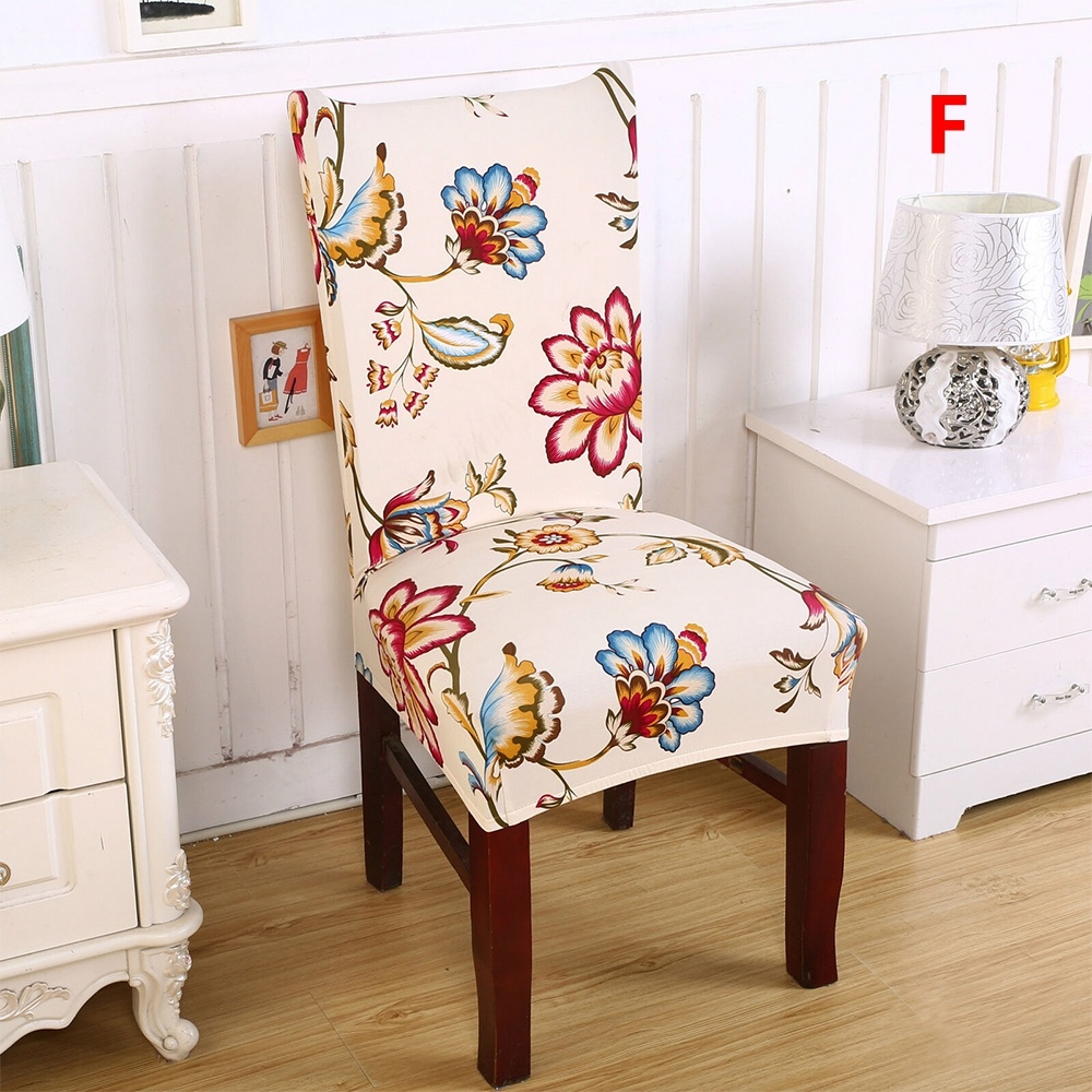 Pack of 2/4/6 Home Decor Universal Removable Chair Protective Covers Flowers Printed Elastic Seat Slipcovers
