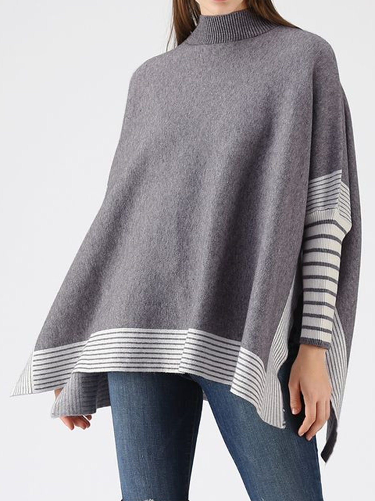 High Neck Cape Style Stripes Color Block Long Sleeve Knitted Sweater