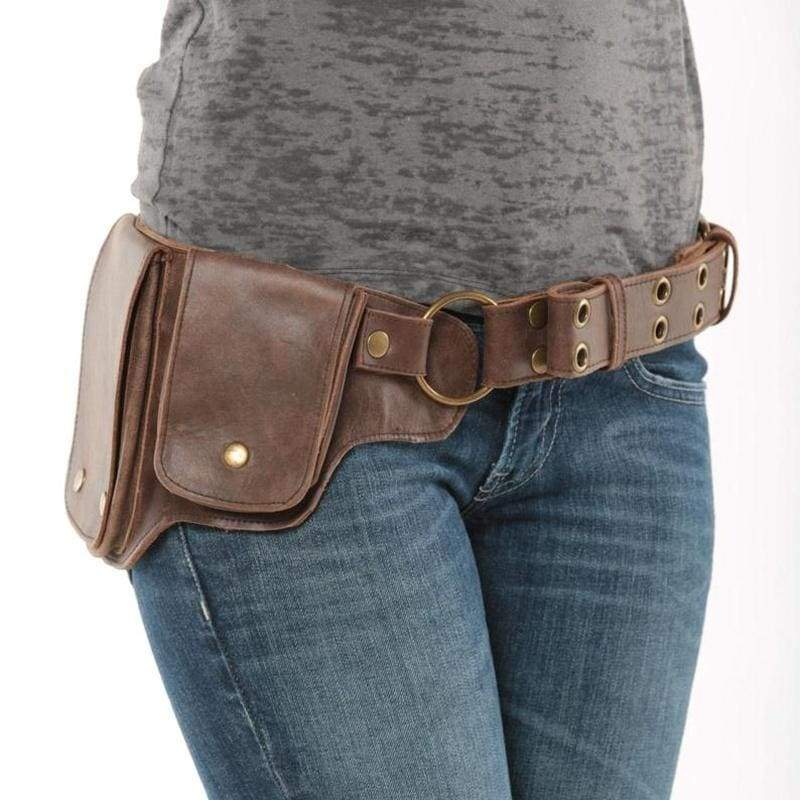 Womens Men Fashion Hip Pack Leather Utility Belt Unisex Steampunk Belt Bag Largest Pockets Great for Phones Functional and Beautiful Fashion Accesories