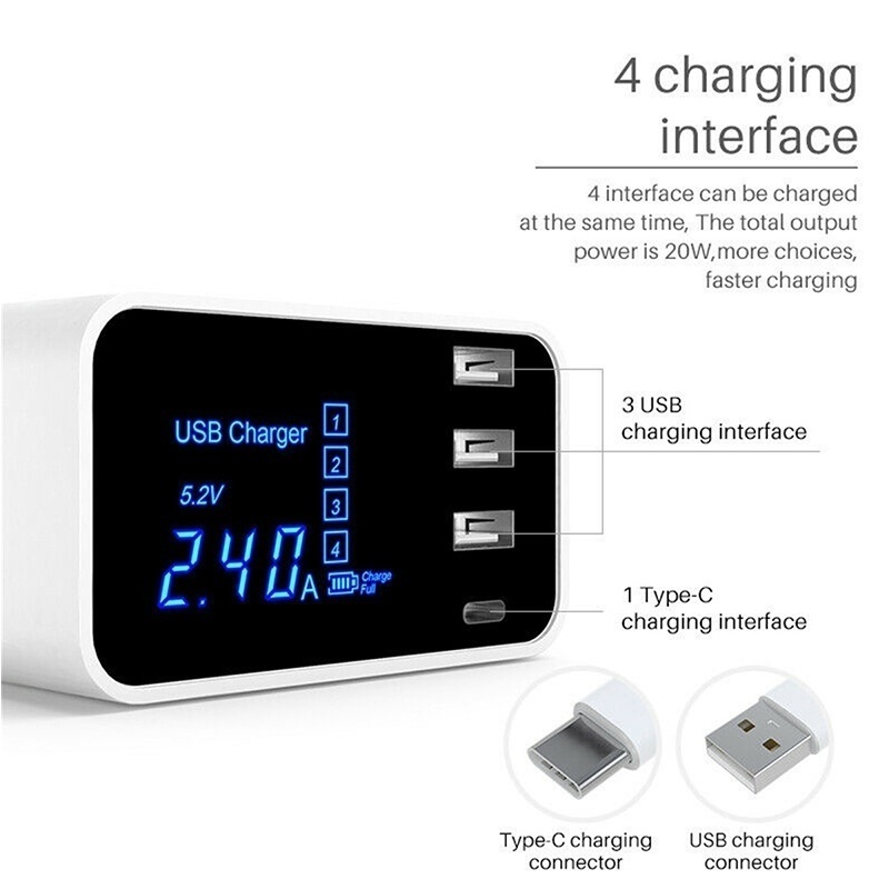 New Upgrade Multi-port USB Fast Charger LCD Display Power Adapter Wall Desktop Rapid USB Charging Hub for Travel Office Home