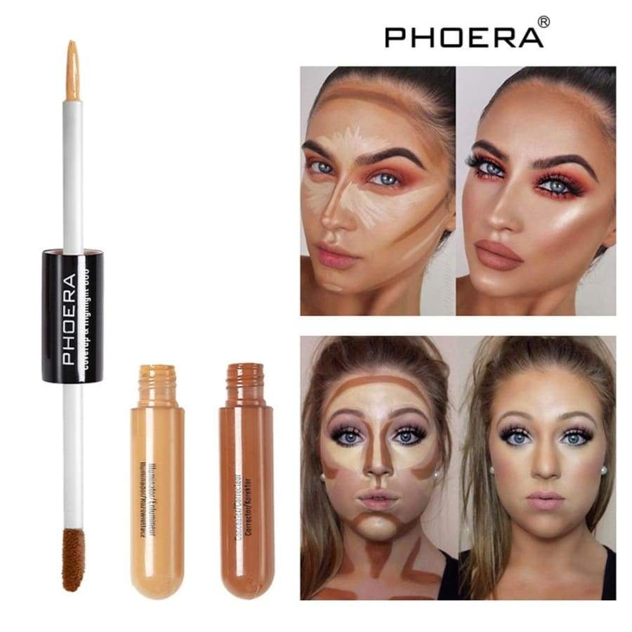 10 Colors New Full Coverage Double Head 3D Bronzer Highlighter Stick Face Makeup Concealer Pen Foundation Stick Cream Texture Contour Pencil