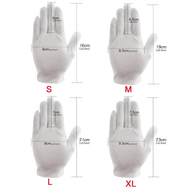 3 pair 100% COTTON WHITE GLOVES Moisturising Eczema Butler Beauty Magician Gloves Full Finger Men Women Waiters/drivers/Jewelry/Workers Mittens Sweat Absorption Gloves Hands Protector