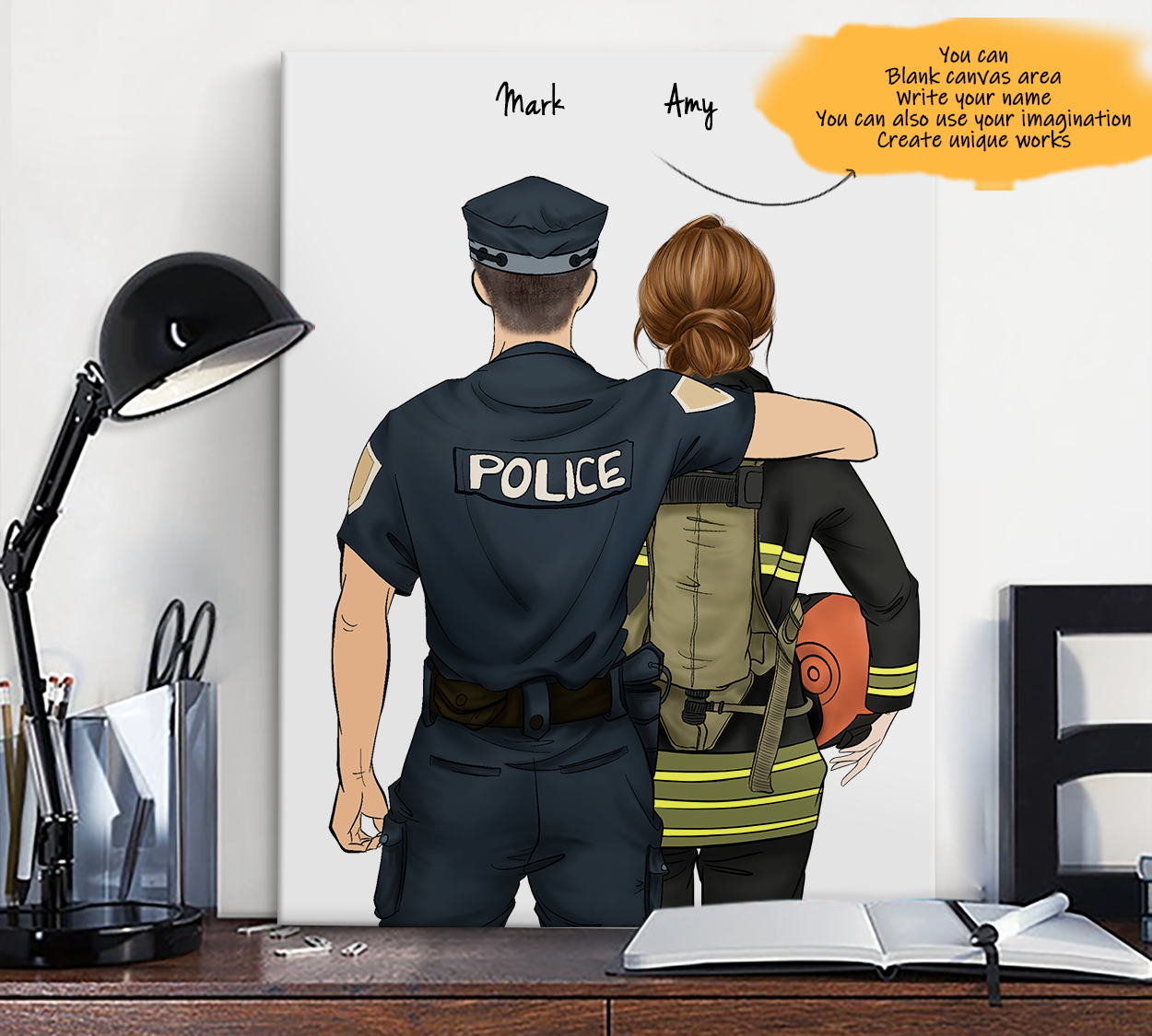 He is My Friend! Hand Draw Custom Canvas-Print Gift Police-Light&Firefighter