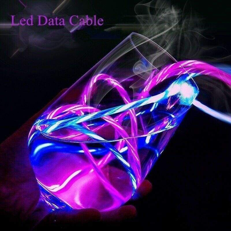 For Android/Type C LED Glow Charging Cable Data Sync Mobile Phone Cables USB Charging Line Cord 4 Colors