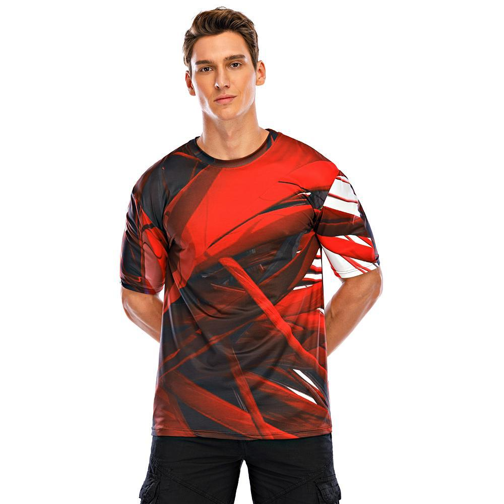 Men's T-shirt Abstract Graphic Print Tops Street chic Exaggerated Round Neck Blue Red Blushing Pink / Short Sleeve