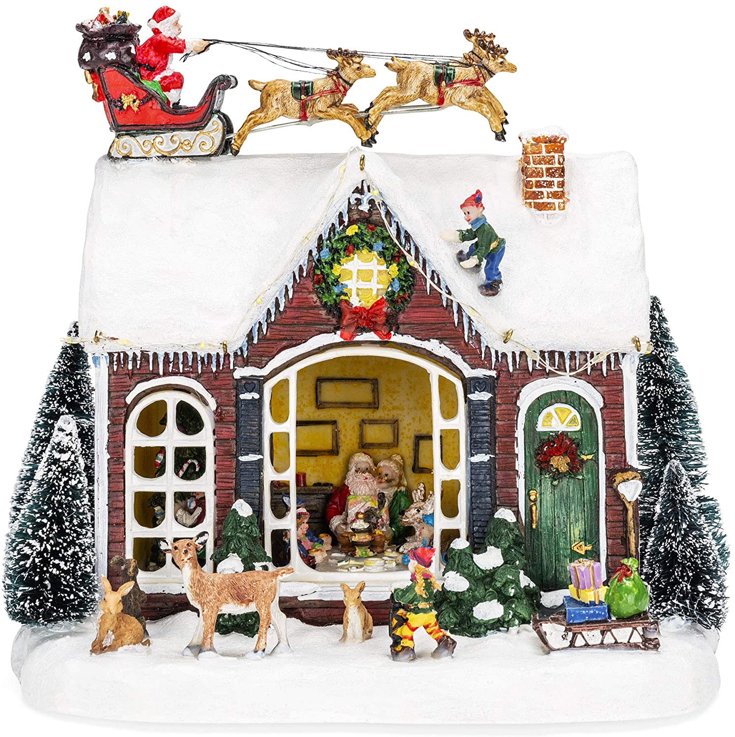 Pre-Lit Musical Tabletop Christmas Village Decoration for Fireplace Mantle