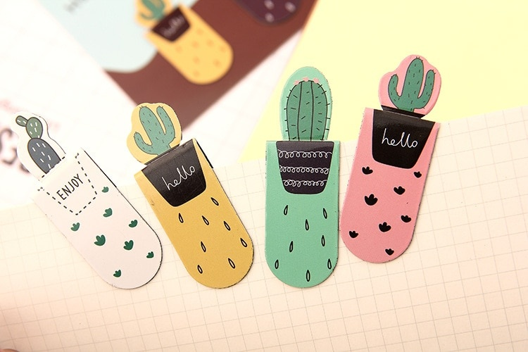 Creative cactus Magnetic Bookmarks 3 pcs/pack  Books Marker of Page Student Stationery School Office Supply Gift Stationery