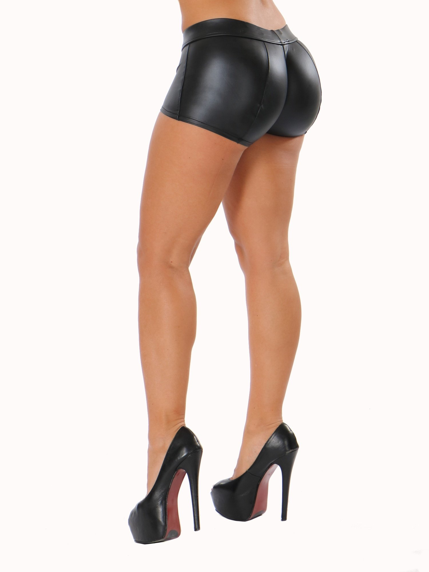 New Charming Women Vogue Balck PU Faux Leather Shorts Ladies Fashion High-waist Stretch Material Black Short Leggings S~3XL