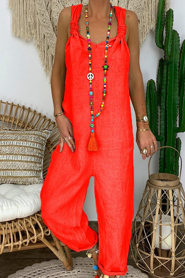 Solid Color Loose Bohemian Overalls