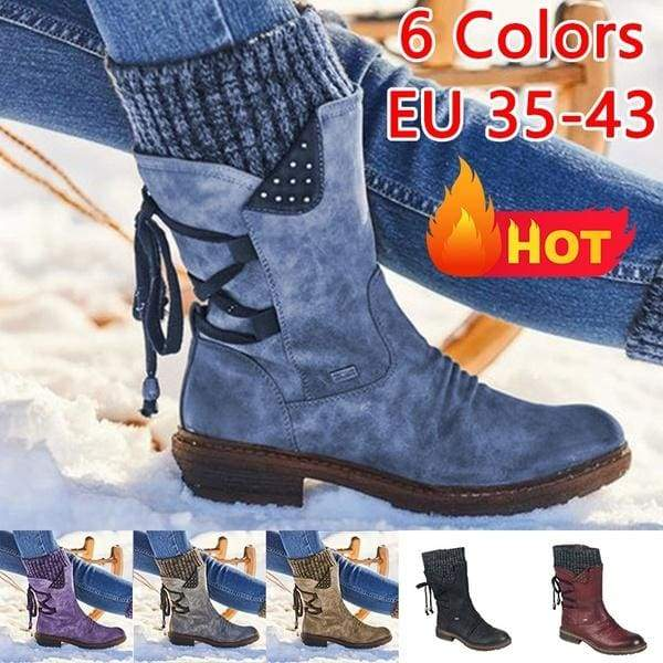 2020 New Trend Women Winter Boots Thicken Warm Boots Leather Sweater Bandage Short Boots Comfy Slip on Snow Boots