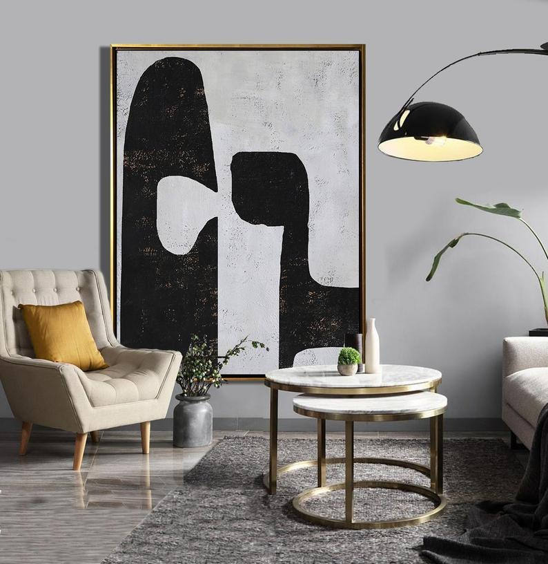 Oversized Abstract Painting Original Art, Large Painting on Canvas, Vertical Modern Art, Black, white, brown - Ethan Hill Art No.H197V