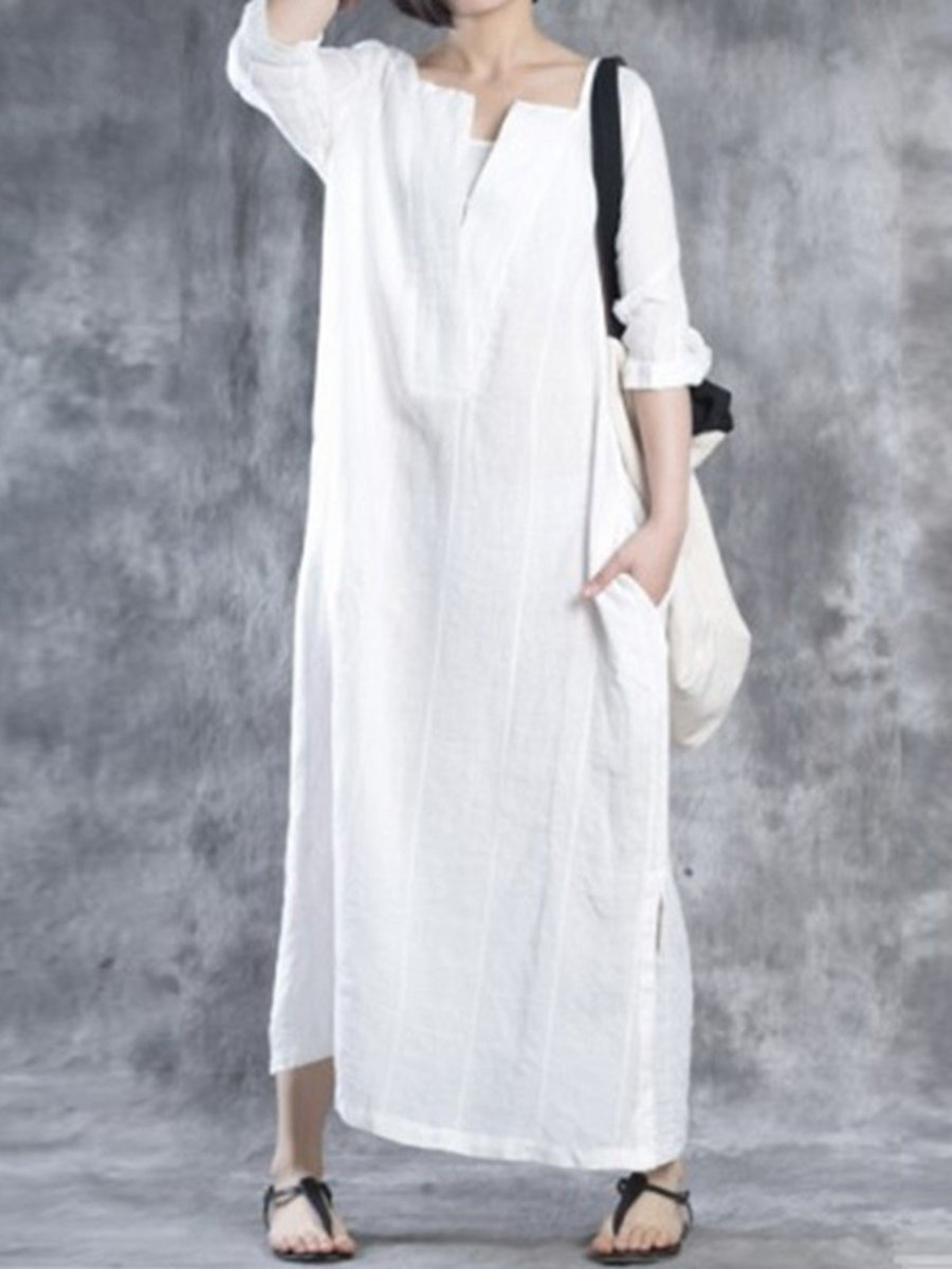 Women Linen Solid Shift V Neck Shift Casual Maxi Dress