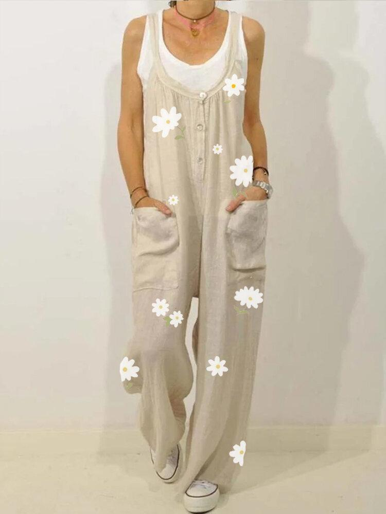 Women Casual Flower Print Loose Jumpsuit