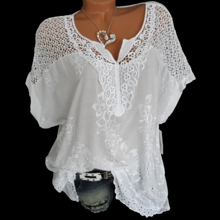 Women Printed Sexy Lace Loose V Neck Bat Sleeve Blouse Shirts Tops