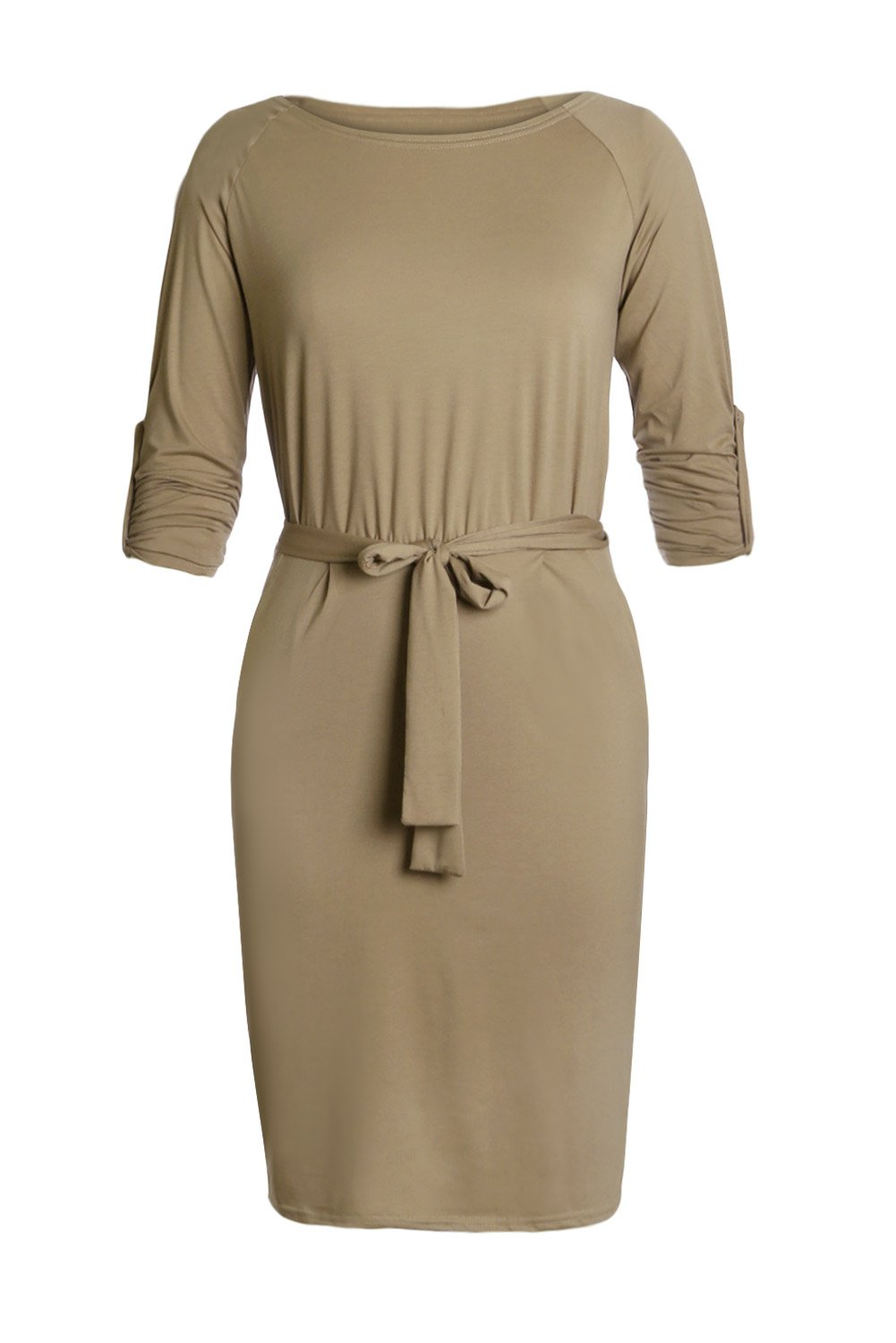 Women Clothing Designers The Best Olive Roll-tab Long Sleeve Tie Waist Midi Dress