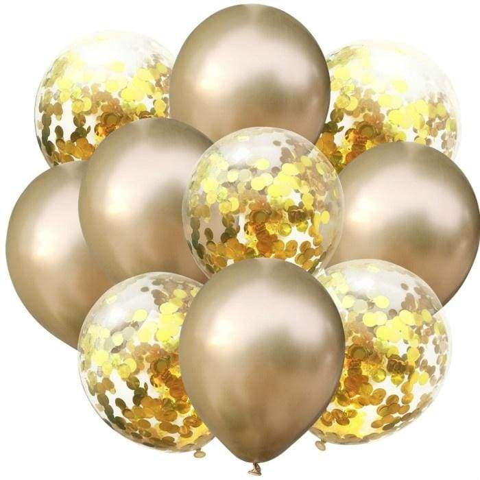 10pcs Confetti Balon and Metallic Balon Mixed Amazing Sight for Your Party