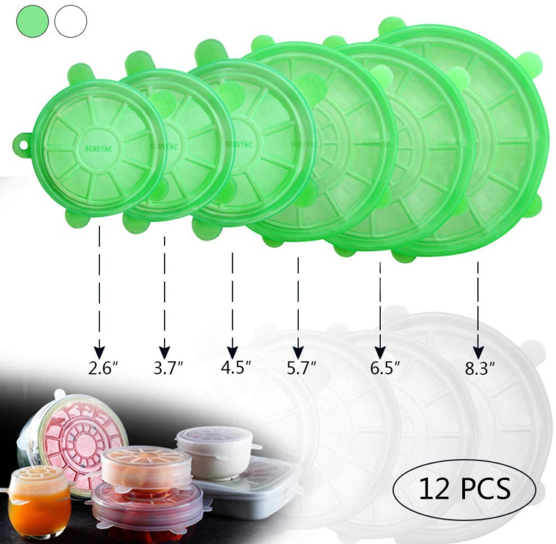 Silicone Stretch Lids BPA Free Reusable Food Container Elastic Covers Green 12Pc