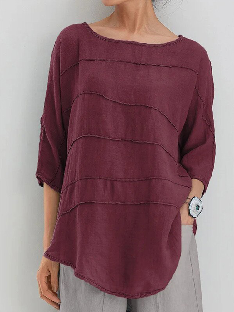 Striped Batwing Sleeve Casual Top