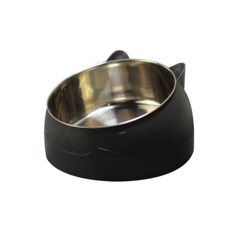 Cute Cat and Dog Bowl Protection Cervical Vertebra 15 Degree Oblique Mouth Pet Stainless Steel Food Bowls DFK